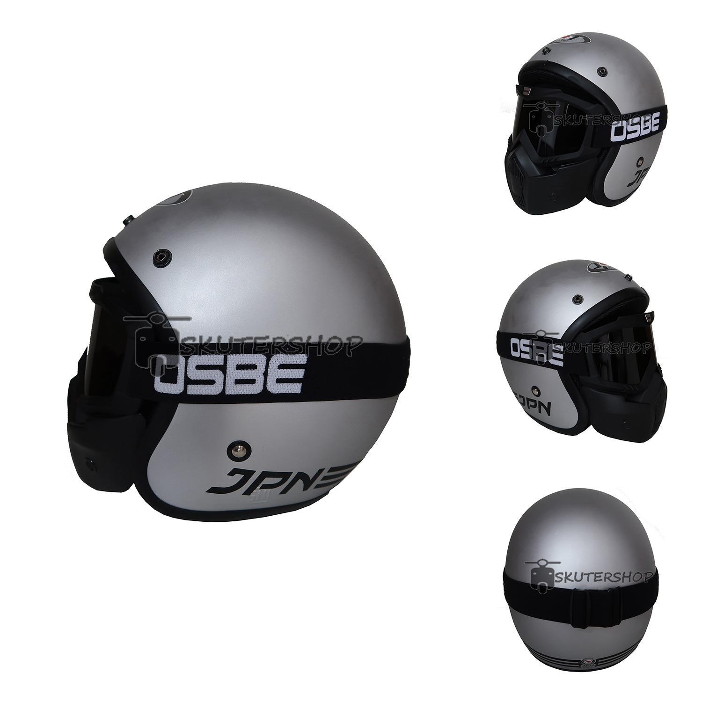 JPN Helm ARC With OSBE Goggle Mask Retro Klasik Jap Style Motocross Shark Raw Visor Smoke Doff - Silver Abu Abu