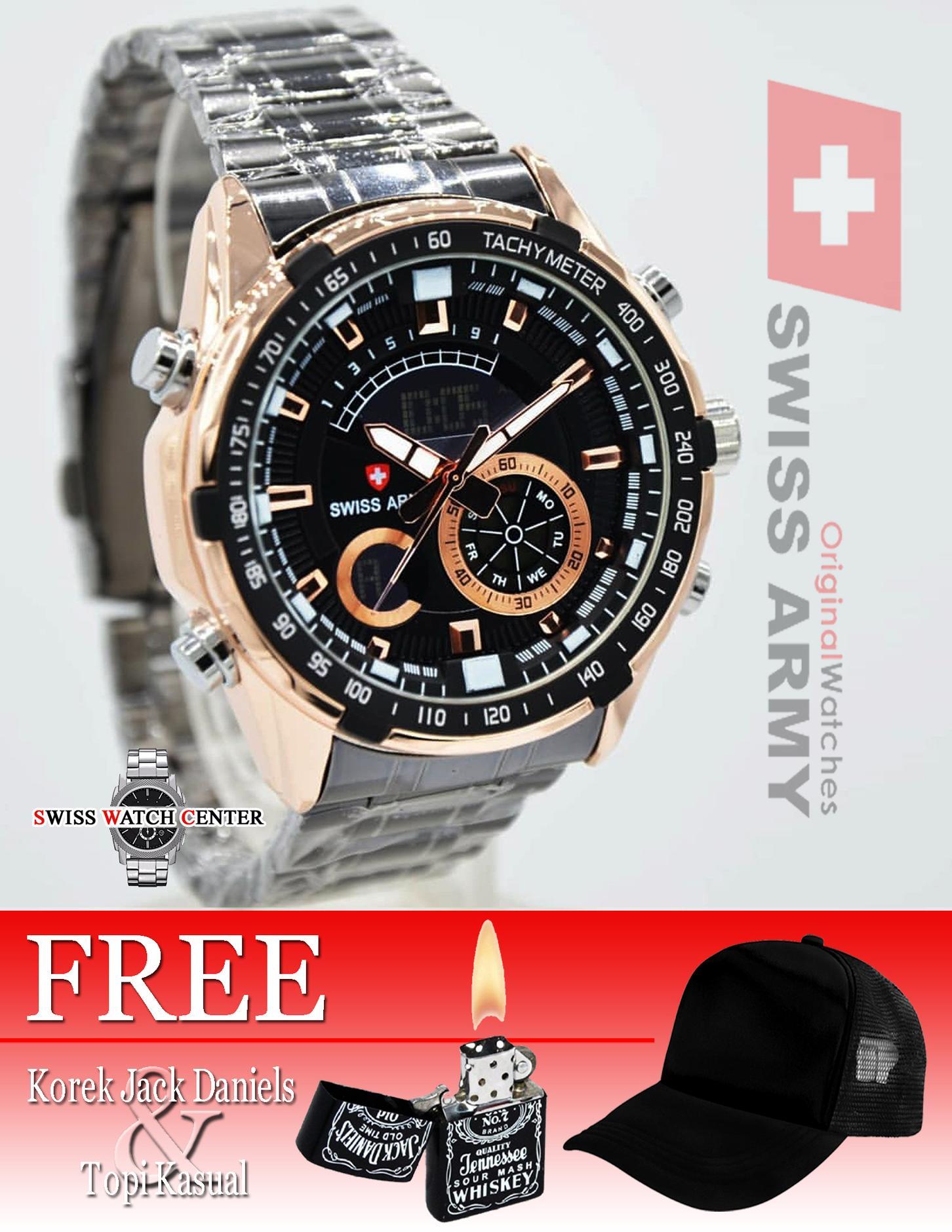 Swiss Army Dual Time Original - Grand-Prix - Jam Tangan Pria - Stainless Steel - Fitur Lengkap - Bonus Topi Dan Korek JACK DANIELS