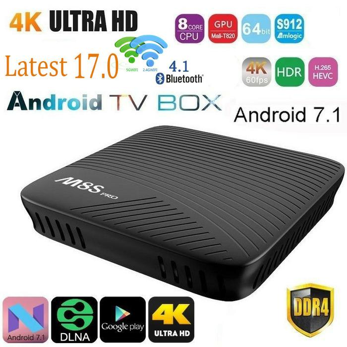 Harga Diskon!! M8S Pro Smart Tv Box 4K Android 7.1 Amlogic S912 2Gb 16Gb - ready stock