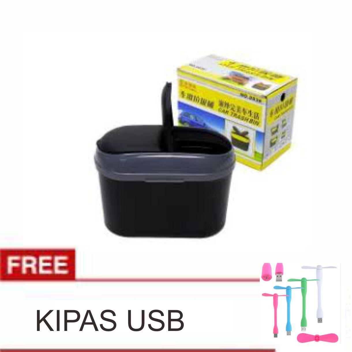 Lanjarjaya Tempat Sampah Multifungsi untuk Mobil Tengah dan Pintu Silver FREE KIPAS ANGIN USB