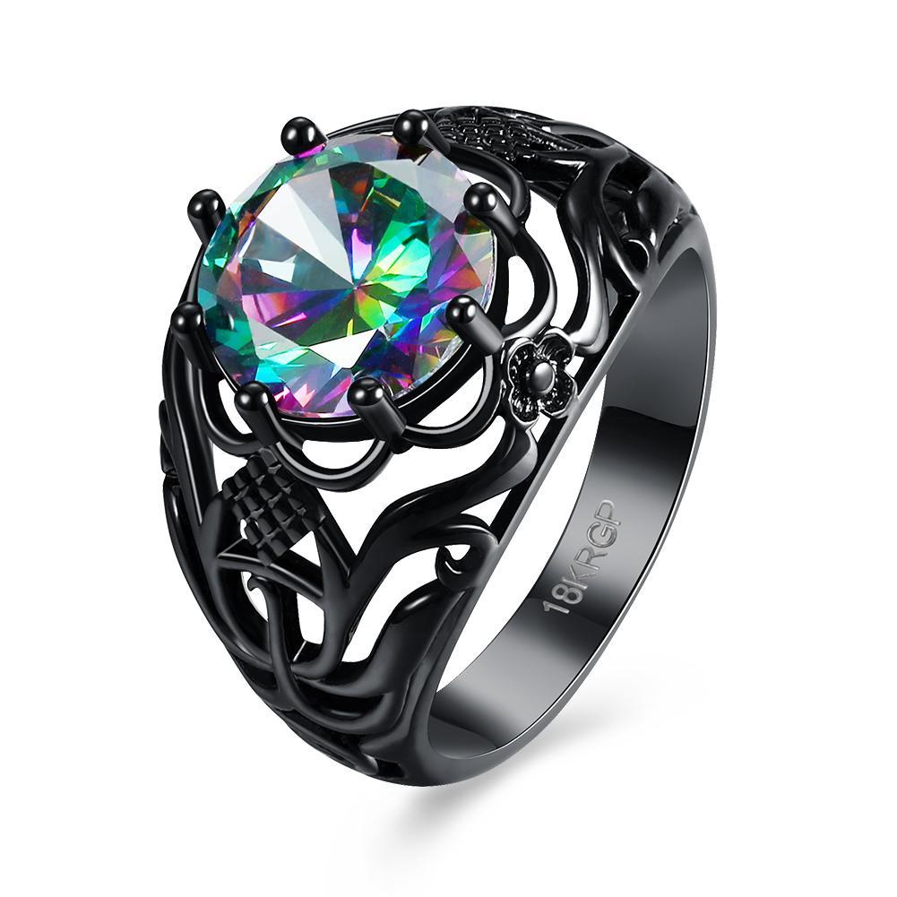 Pola ini dilubangi dengan cincin zircon berwarna-warni Wanita Aksesoris grosir PR874-D-8 LKN18KRGPR874