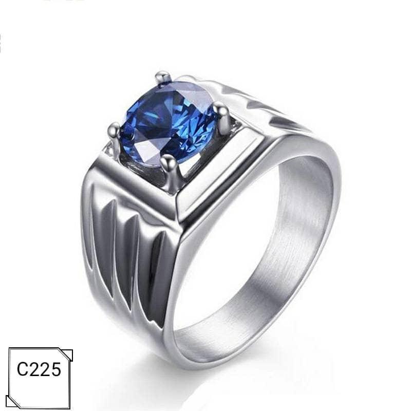 NEW Promo Perhiasan Cincin Pria Titanium Lapis Emas Batu Cubic Zirconia AAA Blue C225 Murah