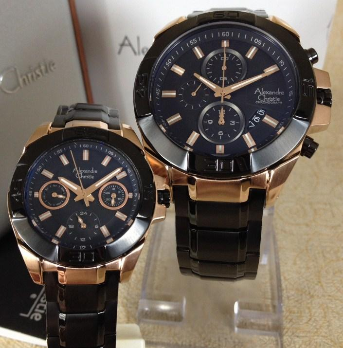 Alexandre Christie Jam Tangan Couple Alexandre Christie AC6455MC BF Black  Stainless Steel List Blue 78b1831d4a