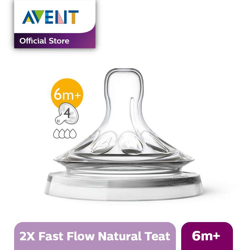 Philips Avent SCF654/23 Natural New Fast Flow Teats 6M+ Isi 2 Pcs