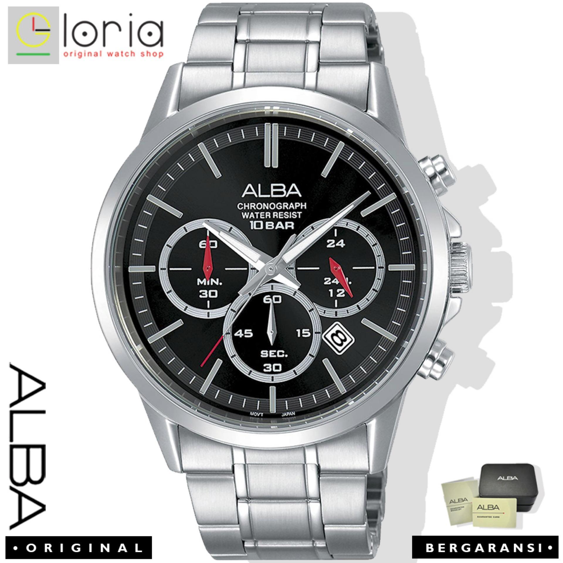 ALBA AT3B Series Chronograph Jam Tangan Pria  Quartz Movement Tali Rantai Stainless Steel