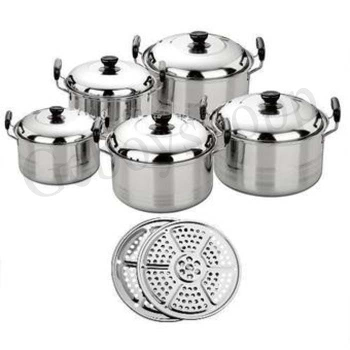 Happy Life America High Pots  Panci Set  5 in 1 + Kukusan / Steamer / Langseng