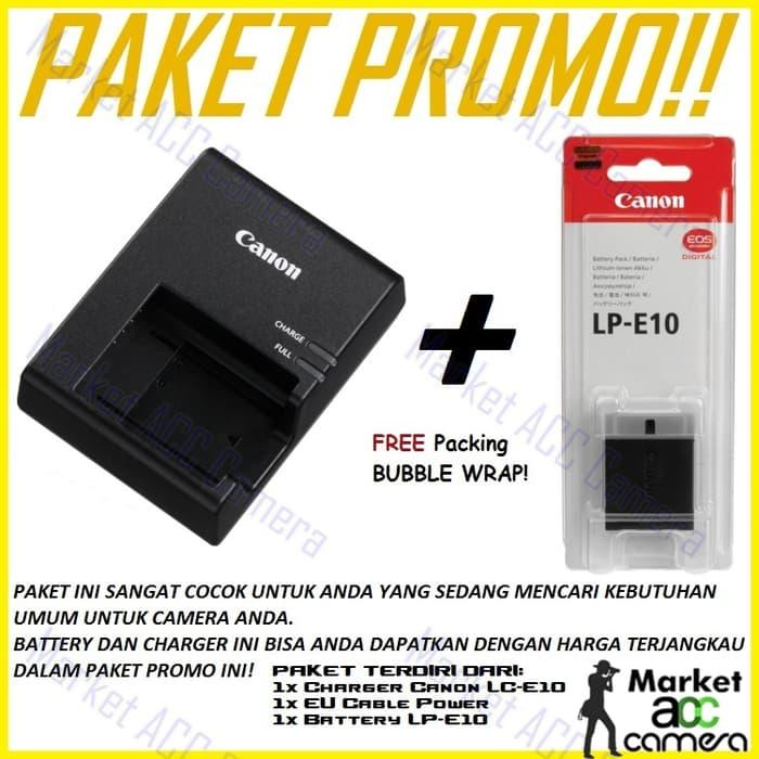 Promo Charger Canon LC-E10 + Battery Canon LP-E10 (EOS 1100D/1200D/Rebel T3) original