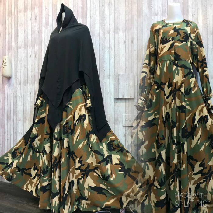 Adzra Gamis Murah syari /busana muslim wanita -Army Dress