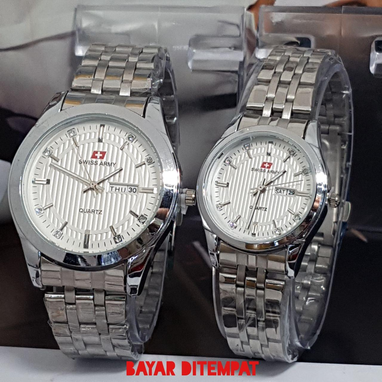 SWISS ARMY FASHION COUPLE/PASANGAN TRENDY CASUAL FITUR TANGGAL HARI AKTIF BODY STAINLESS STEEL TALI RANTAI MODEL TERBARU