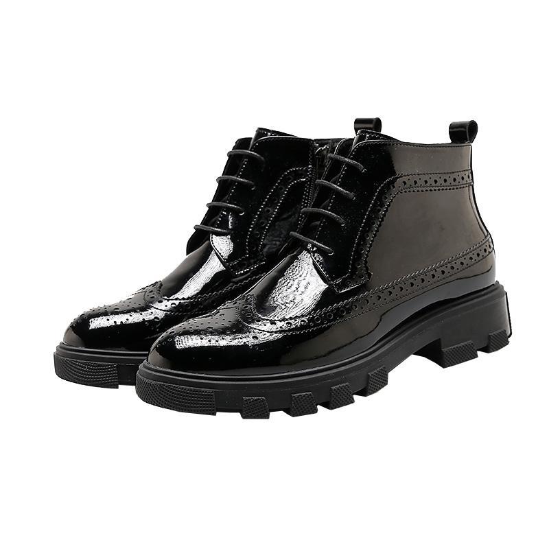 Musim dingin model baru Inggris BULLOCK Pergelangan Kaki Tinggi Sepatu Kulit  katun Retro Boots Martin pergelangan cbbe99a57f