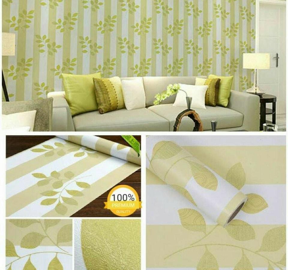 Wallpaper Stiker Dinding Motif Dan Karakter Premium Quality Size 45cm X 10M Salur Daun Hijau Baby068