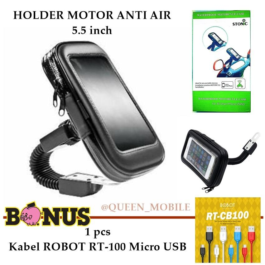 Holder Motor Anti Air ( Waterproof ) Untuk Smartphone Up To 5.5 inch 360 Rotation - Hitam FREE Kabel Robot RT-CB100