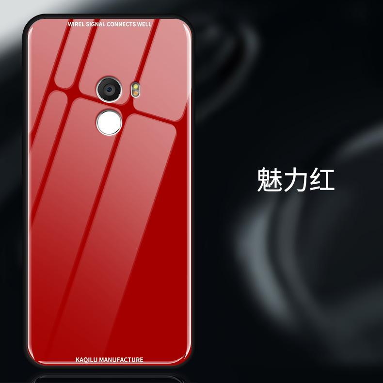 Xiaomi mix2s Casing HP percubaan Kaca shell Xiaomi mix2 Casing Silikon Bungkus Penuh Hardcase mix2s Baur anti jatuh kepribadian kreatif pasang Pria dan wanita model baru di gemetar Jaringan Suara Merah Model Sama