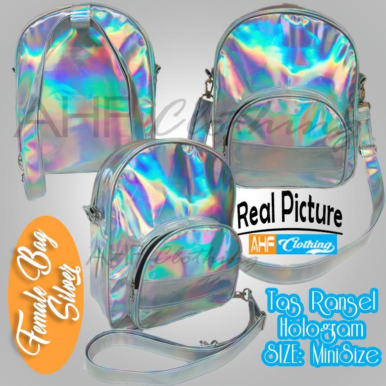 Tas Ransel Mini Travel Santai Sekolah Wanita/Cewek Keren Warna Perak Laser Hologram