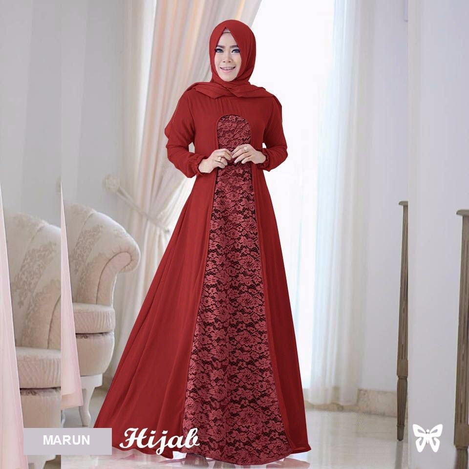 Flavia Store Maxi Dress Lengan Panjang Set 2 in 1 FS0104 - MERAH MARUN / Gamis Syari / Gaun Pesta Muslimah / Baju Muslim Wanita Syar'i / Hijab / Srrayta