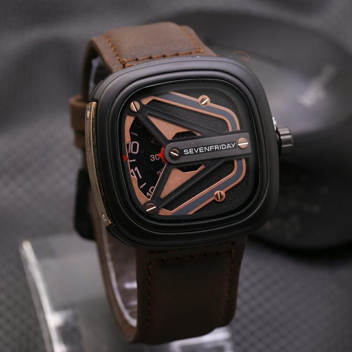 Jam Tangan Pria / Cowok Sevenfriday SK880 Leather Dark Brown Rose