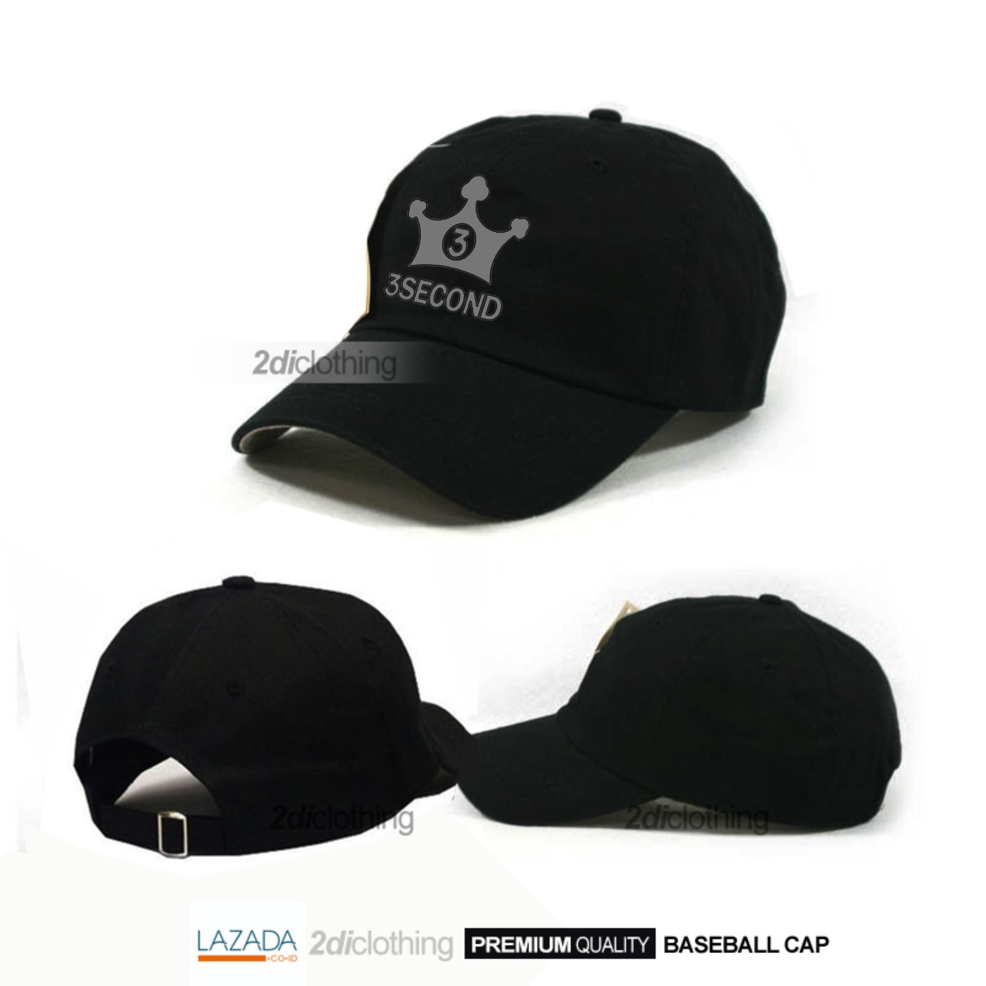 Topi distro 3second - Topi Baseball 3second Silver Print Premium