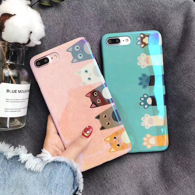 Trendi Selubung Ponsel Jepang atau Korea Selatan Laser Cahaya Biru iPhone
