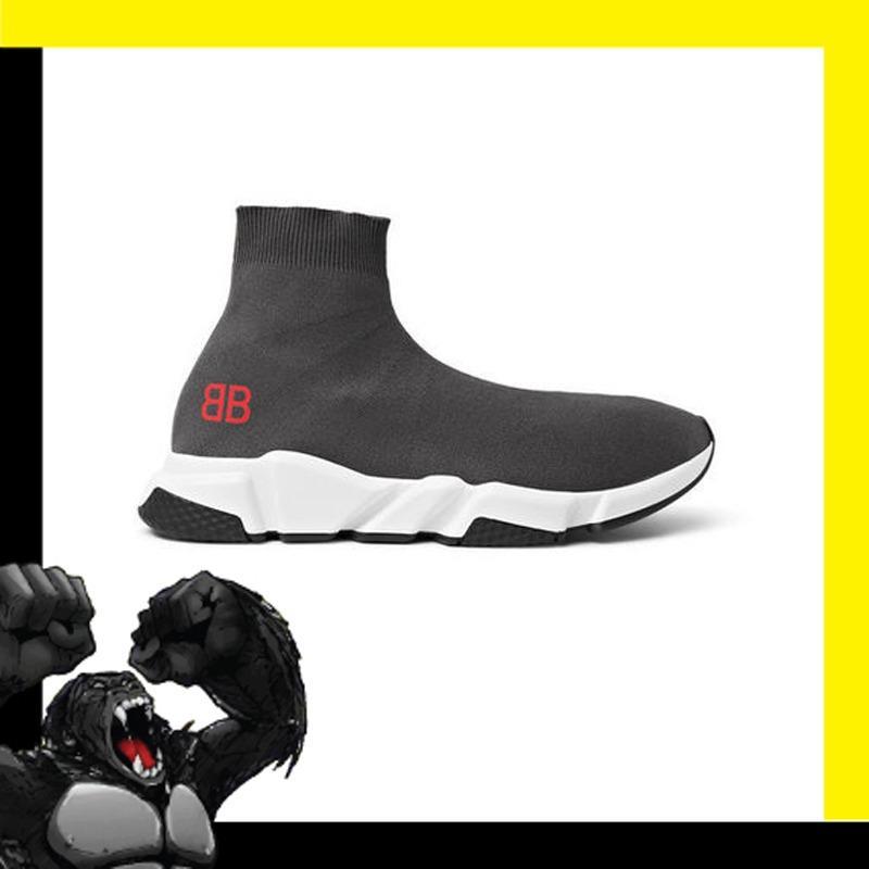 Sepatu Sneakers Balenciaga Speed Sock Stretch Knit Slip On Dark Grey