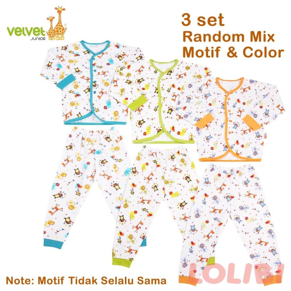 Velvet Junior Random Motif Baju + Celana Panjang L - 3 Pcs