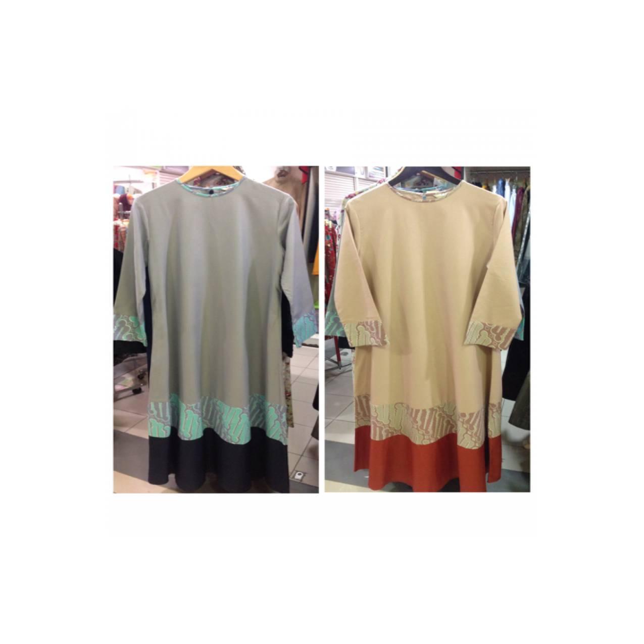 Gamis Simple Kombinasi Batik