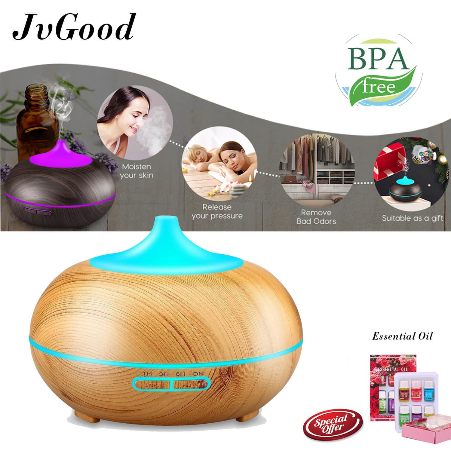 JvGood Air Humidifier Ultrasonic Aroma Diffuser Cool Mist Humidifier Essential Oil Diffuser Aromatherapy Diffuser Wooden Air Purifier Color Changing Air Treatment Mist Maker