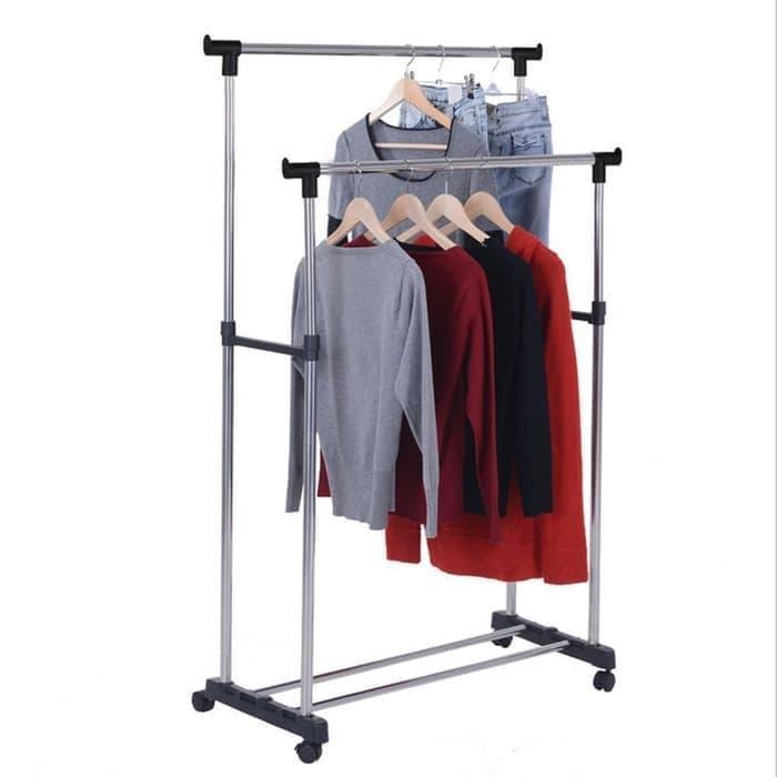 Double rak jemuran laundry multifungsi