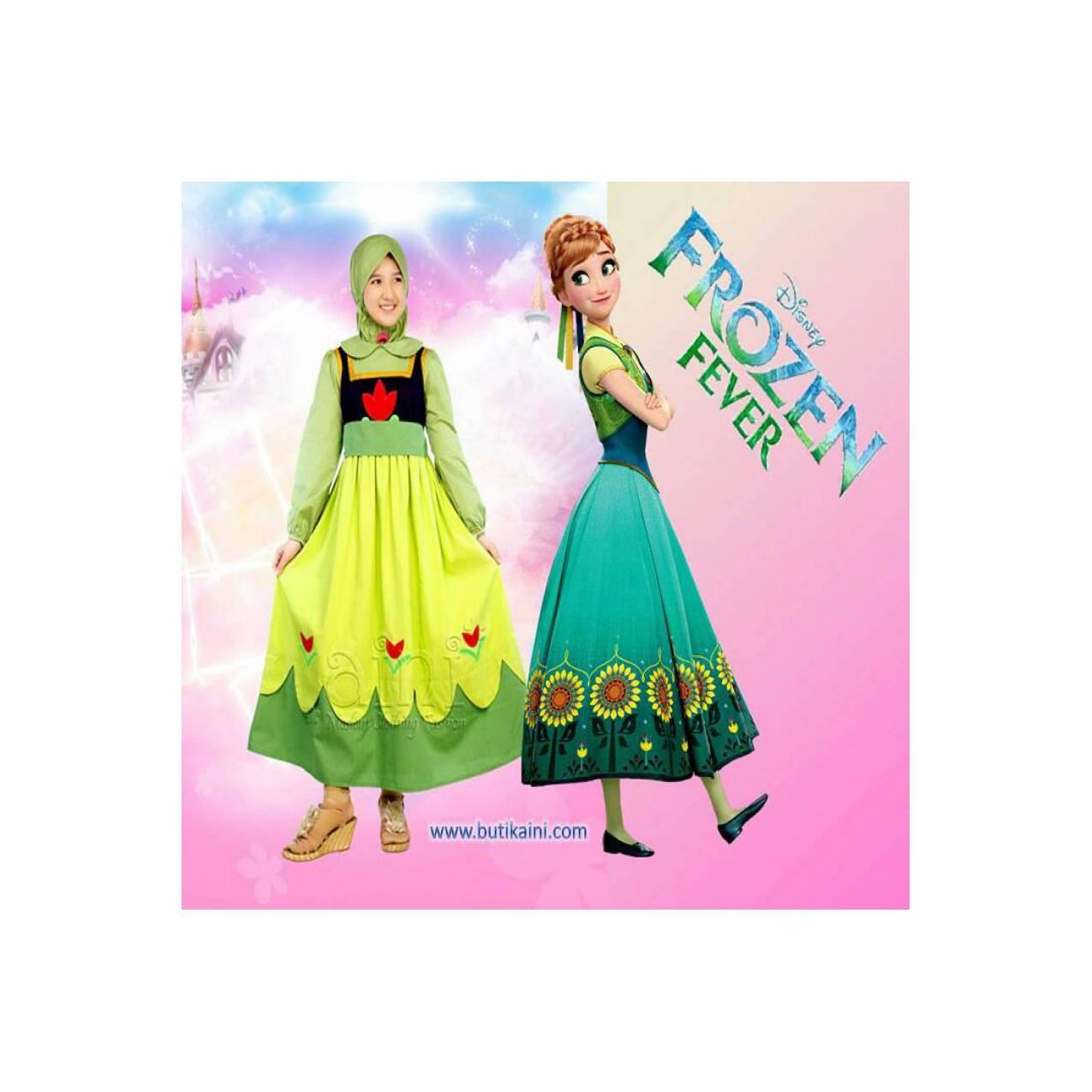 Set Busana Muslim Gamis Anak Aini 160203 Model Young Anna Frozen Kid