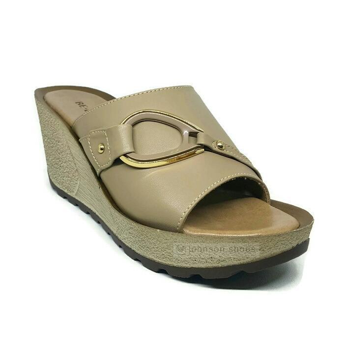 [ Johnson Shoes ] Sendal / Sandal Wedges 7cm Wanita BE-BOB ADELLE 001 ORIGINAL