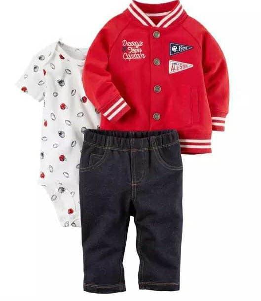 update terbaru   Baju Anak Bayi Laki Carter set 3in1 Jumper Baseball Jaket  Merah 8c9a213e9a