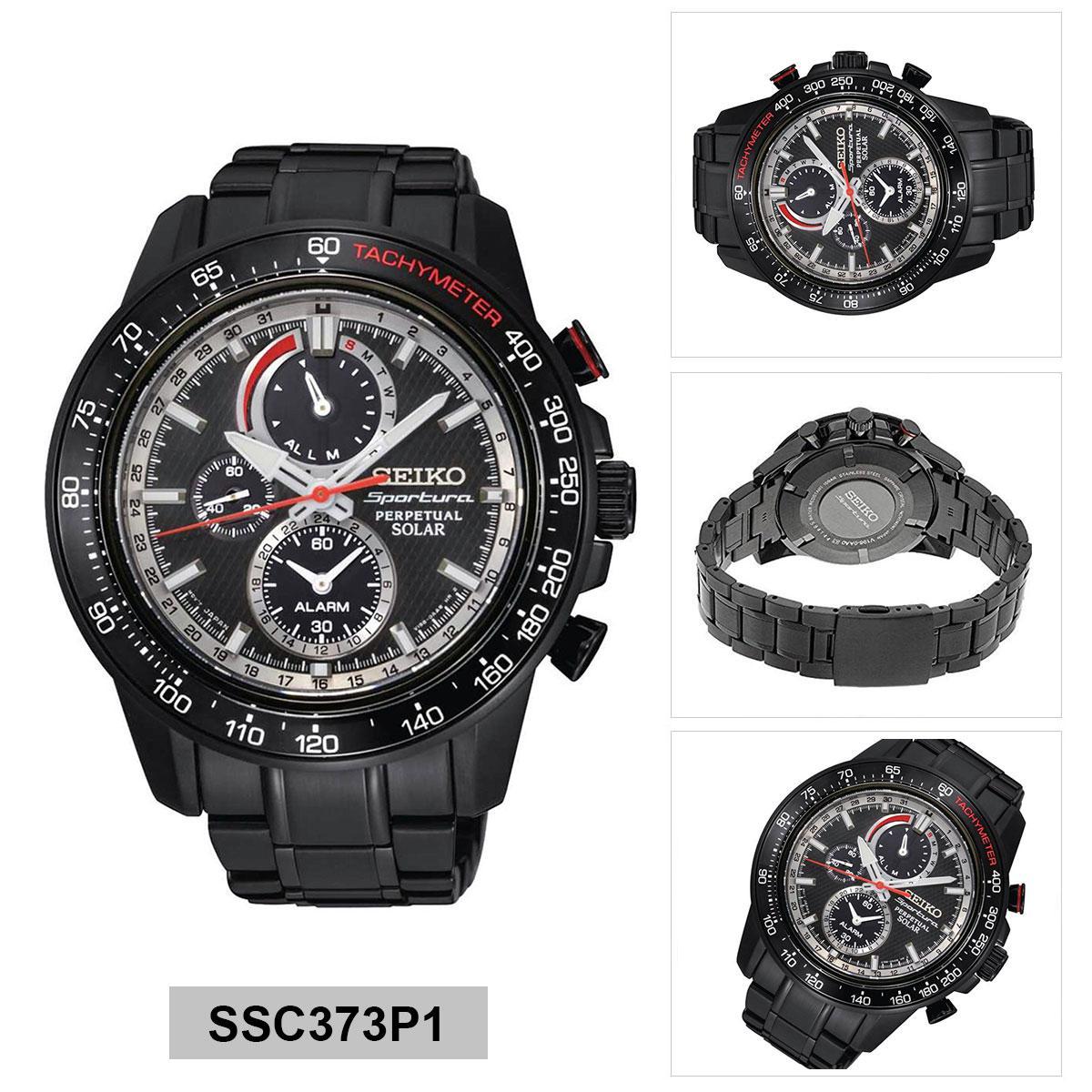 Seiko Seiko Sportura Perpetual Solar Black Stainless-Steel Case Stainless-Steel Bracelet Mens NWT + Warranty SSC373P1