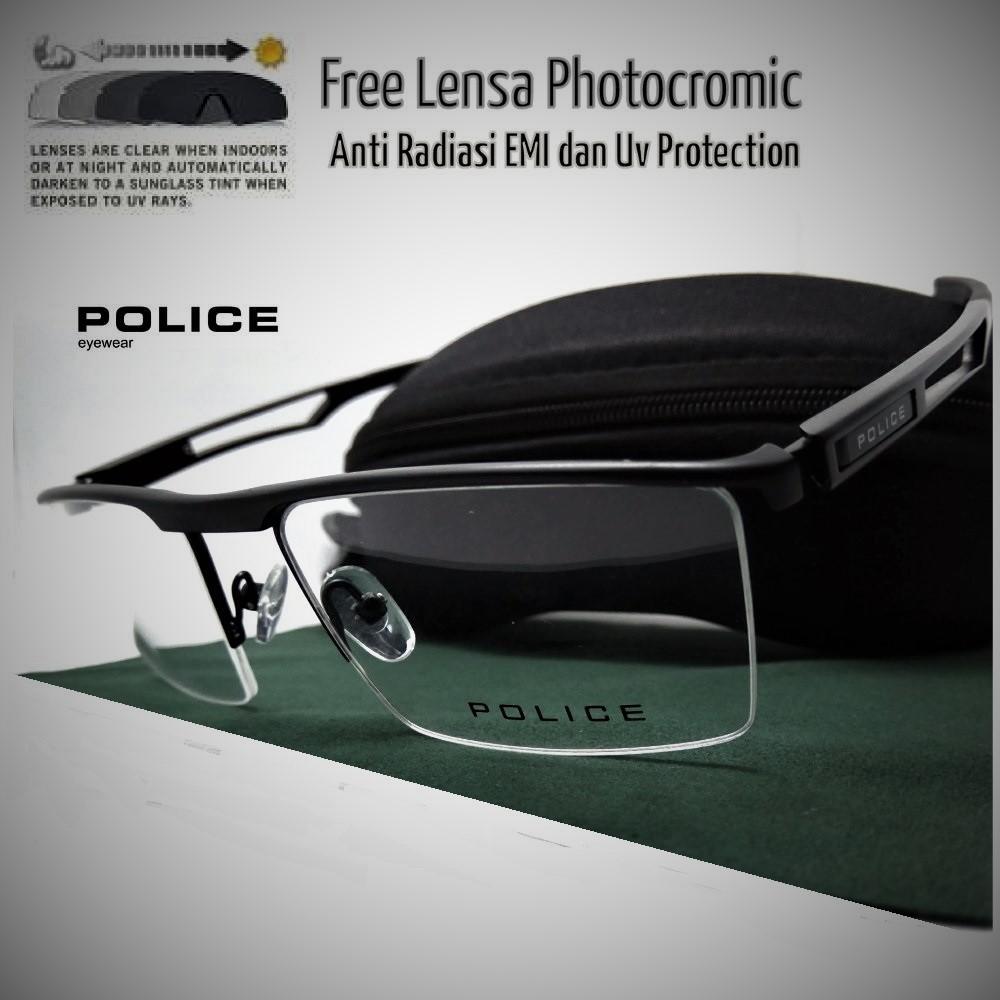 Oki Store Frame Kacamata Pria Elegan Alumunium-Black Normal   Baca   Plus    Minus   98cdc47d0e