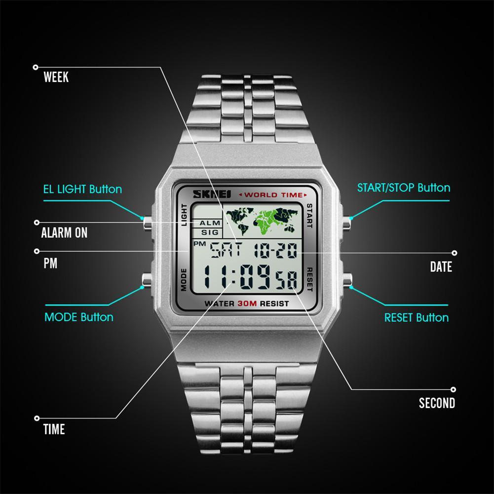 SKMEI 1338 Men Fashion Watch Digital Watches Stopwatch Countdown Waterproof Sports Wristwatch 12/24Hour Clock
