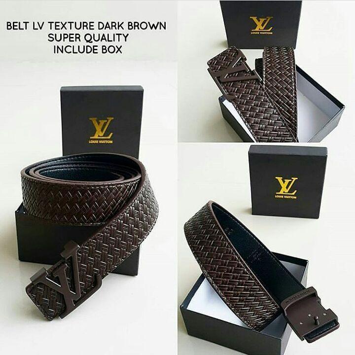 ikat pinggang LV Texture Dark Brown Logo Brown