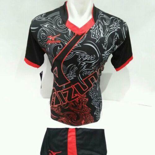 setelan olahraga kaos bola jersey futsal baju volly mizuno abstrak hitam merah