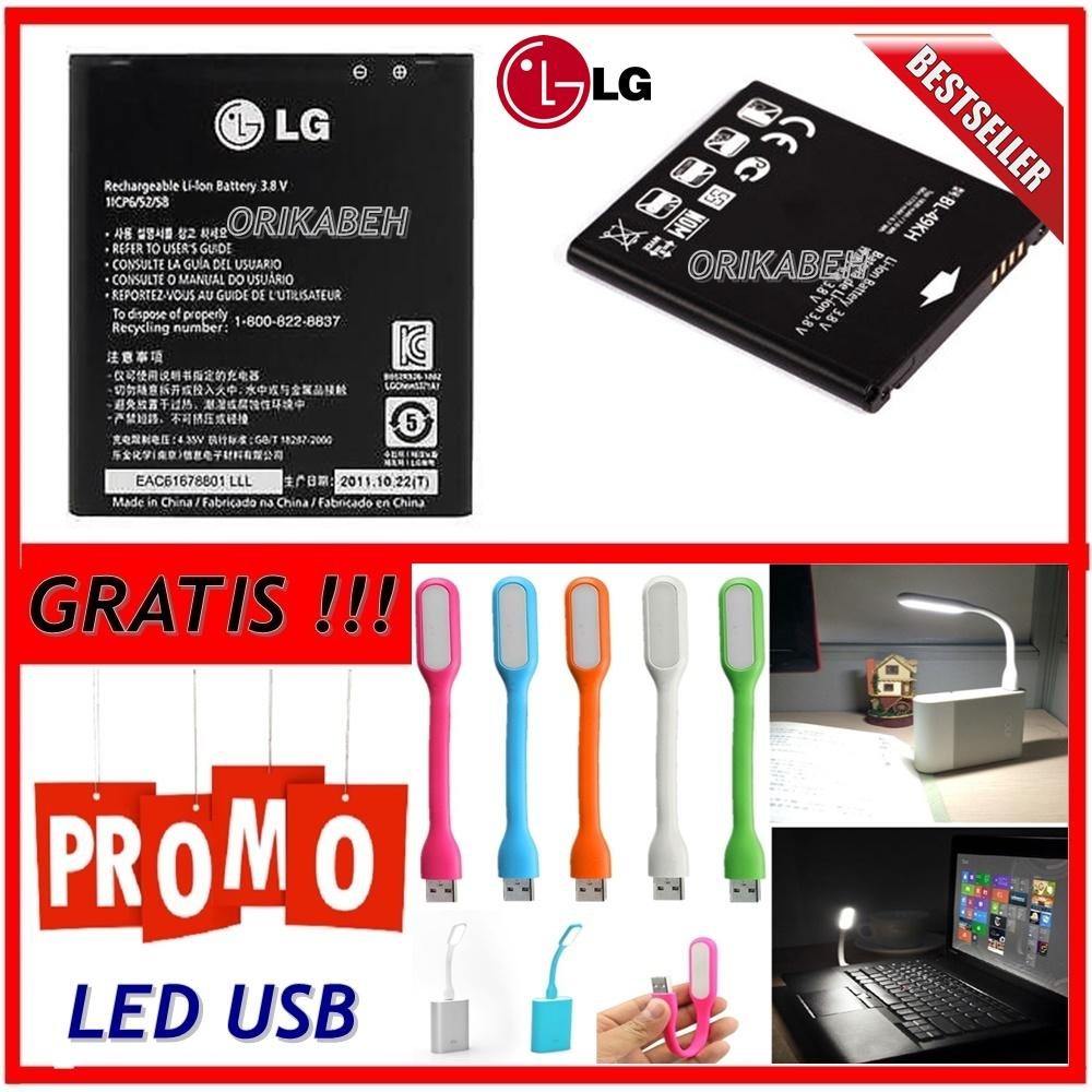 LG Baterai / Battery BL-49KH For LG Optimus LTE Original - Kapasitas 1850mAh + Gratis Lampu Led Usb ( orikabeh )