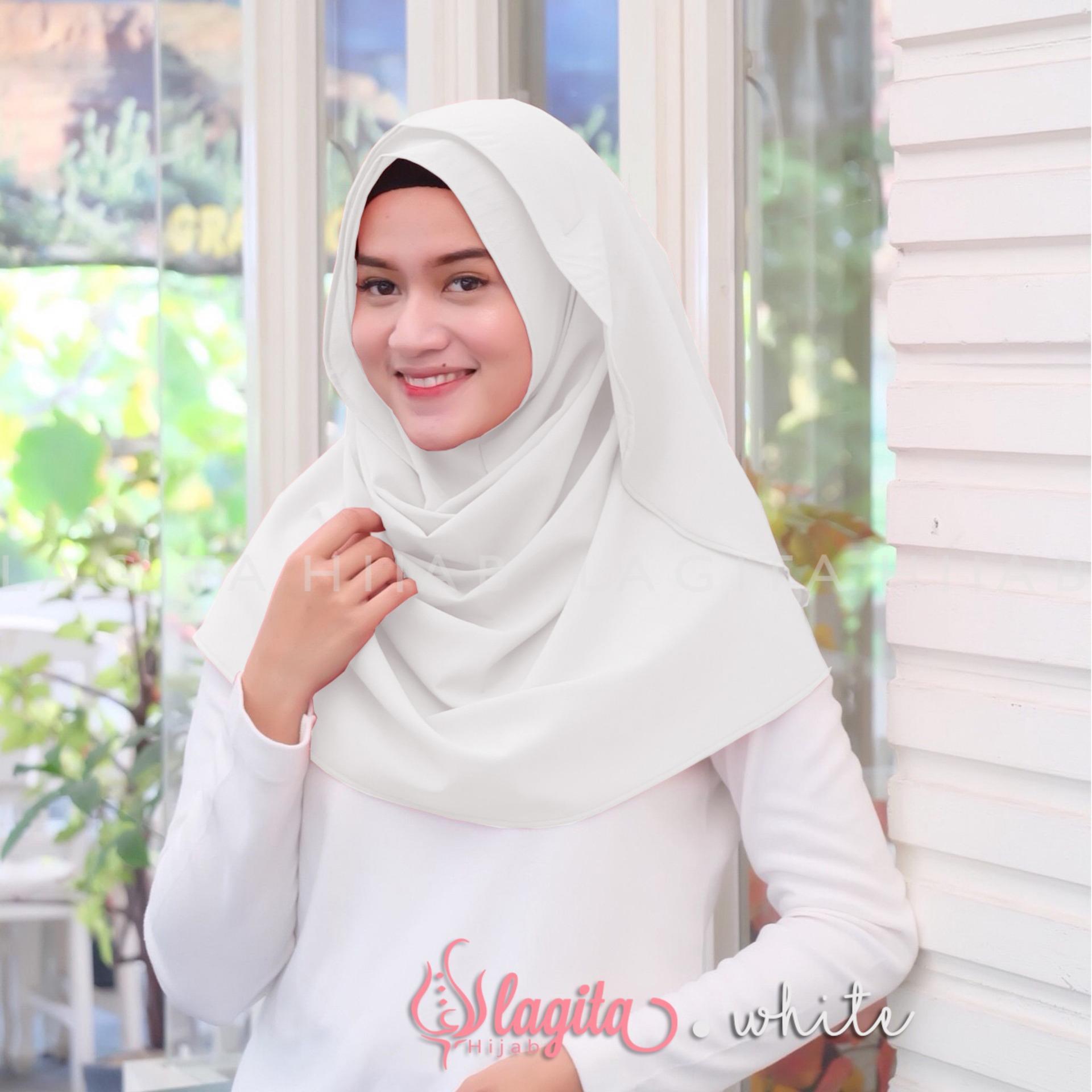 Harga Grosir Termurah Jilbab Adiba Serut Jokowi Hijab Instan Lagita Amora Kerudung White