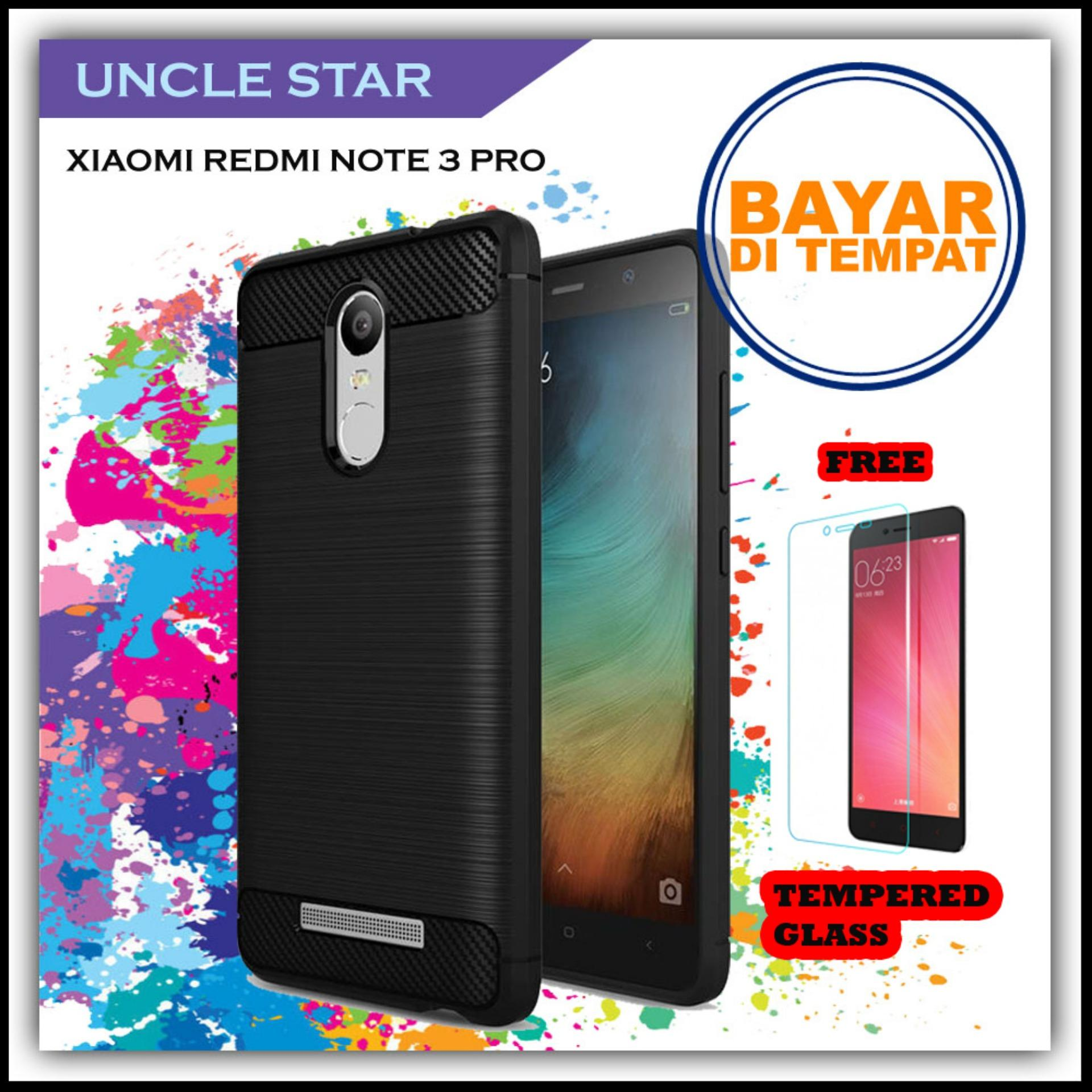 Softcase ipaky Original Carbon Hybrid Back Case for xiaomi redmi Note 3 + Gratis Tempered Glass