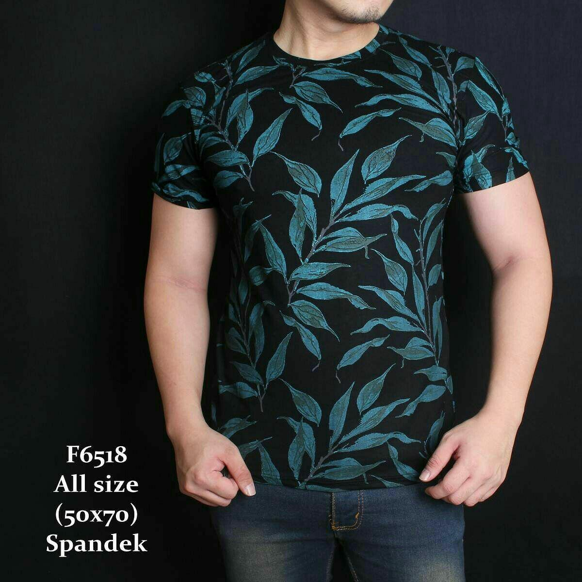 Kaos Tshirt Casual Pria Batik Tea Leaf Black