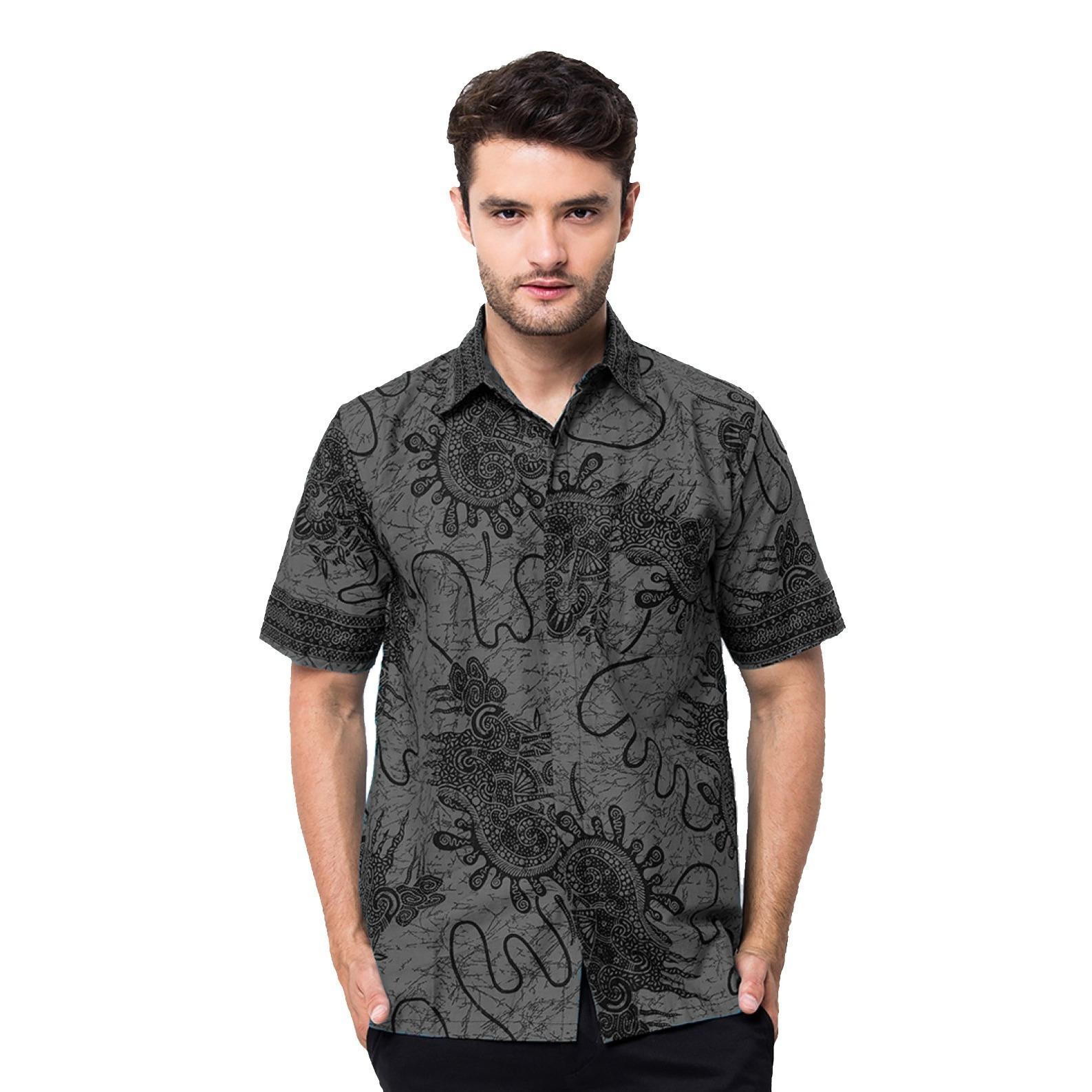 Baju Kemeja Batik pria Lengan Pendek Bahan Katun