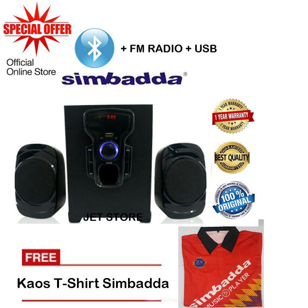 Simbadda Speaker CST 2000N+ Music Player, BLUETOOTH, USB,MMC & RADIO FM. + Kaos T-Shirt warna Random