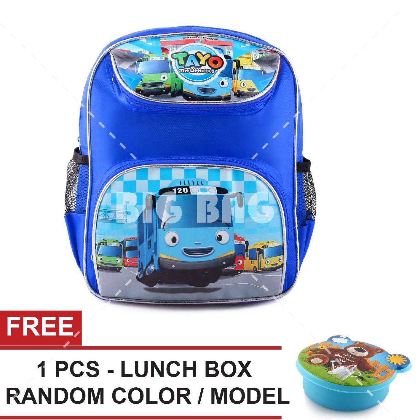 Tas Ransel Anak - Tayo The Little Bus - Lets Go - School Bag Tas Sekolah Anak - BLUE + FREE Lunchbox Random Color / Model Tas Anak Tas Sekolah Tas Anak Karakter