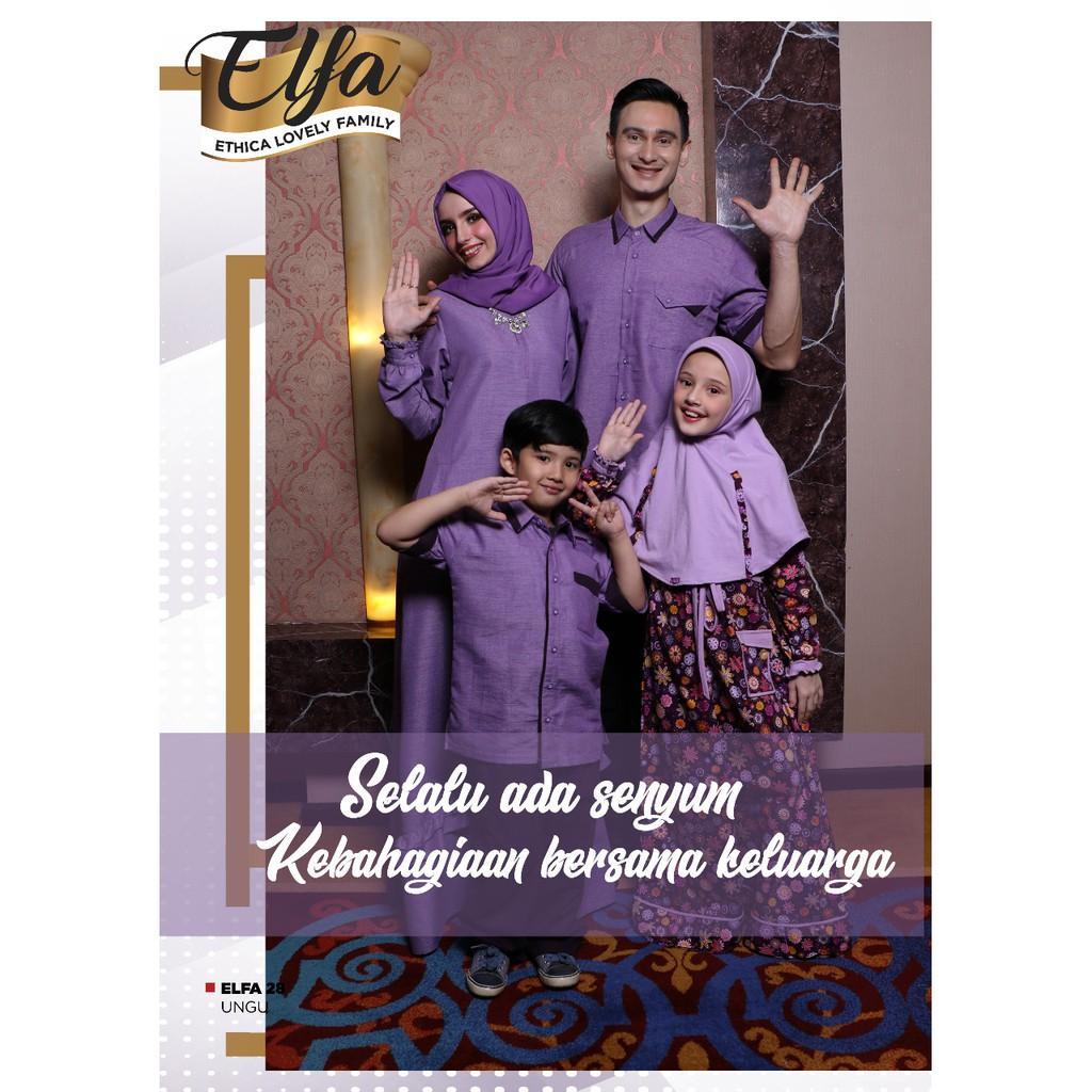 Busana Muslim Sarimbit Ethica Warna Ungu Model Elfa 28 (Gamis Anak No. 9)