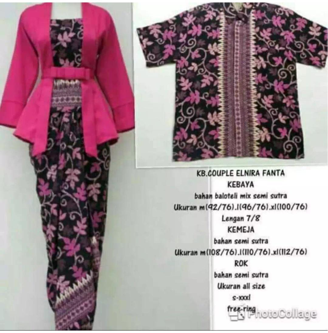 Setelan Pakaian kebaya couple /kebaya Batik Modern/kebaya lebaran/kebaya modern/kebaya tradisional/kebaya wanita/kebaya keluarga/ kebaya kutu baru & rok lilit. Elnira terbaru
