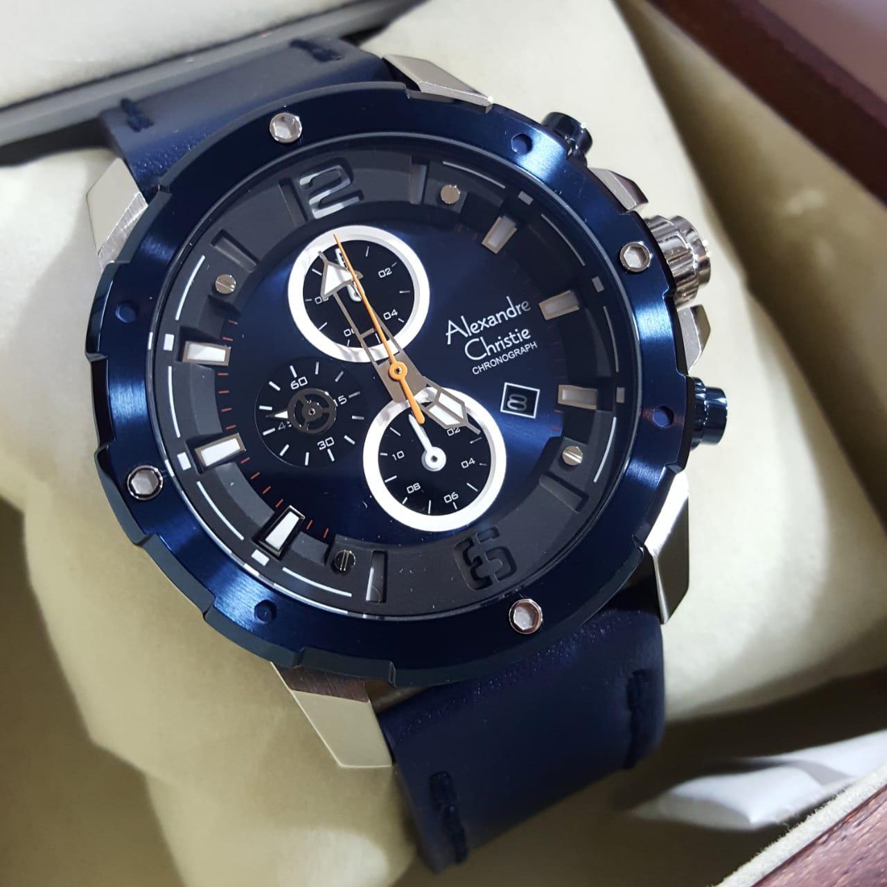 Alexandre Christie 100% Original AC6410 -Jam Tangan Pria-Blue Silver 530d8f9665