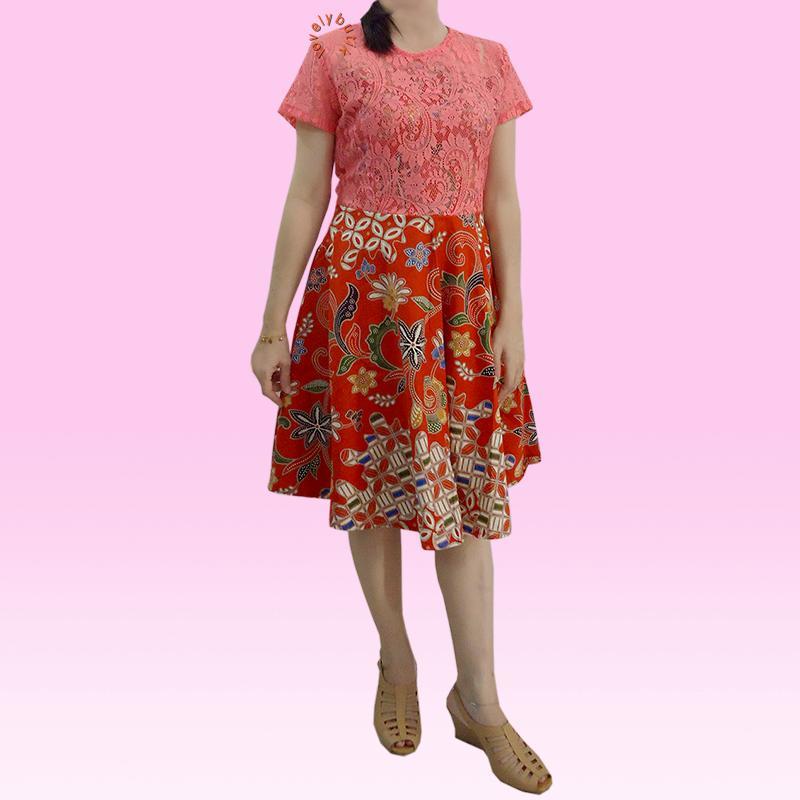 Lovely Vivi Dress Batik Wanita Modern / Dress Batik Modern Murah / Dress Brukat / Dress