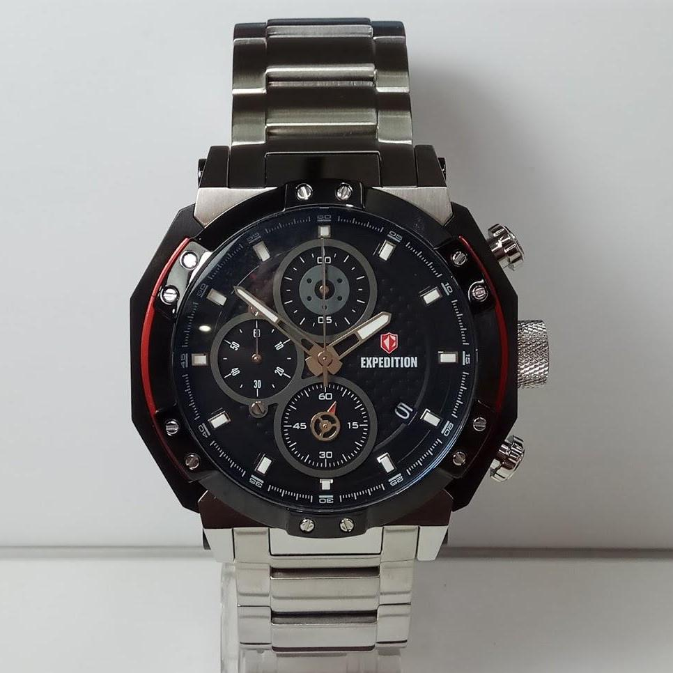 Jam Tangan Formal Expedition Pria E6385mc Chronograph Silver Black Stainless Steel