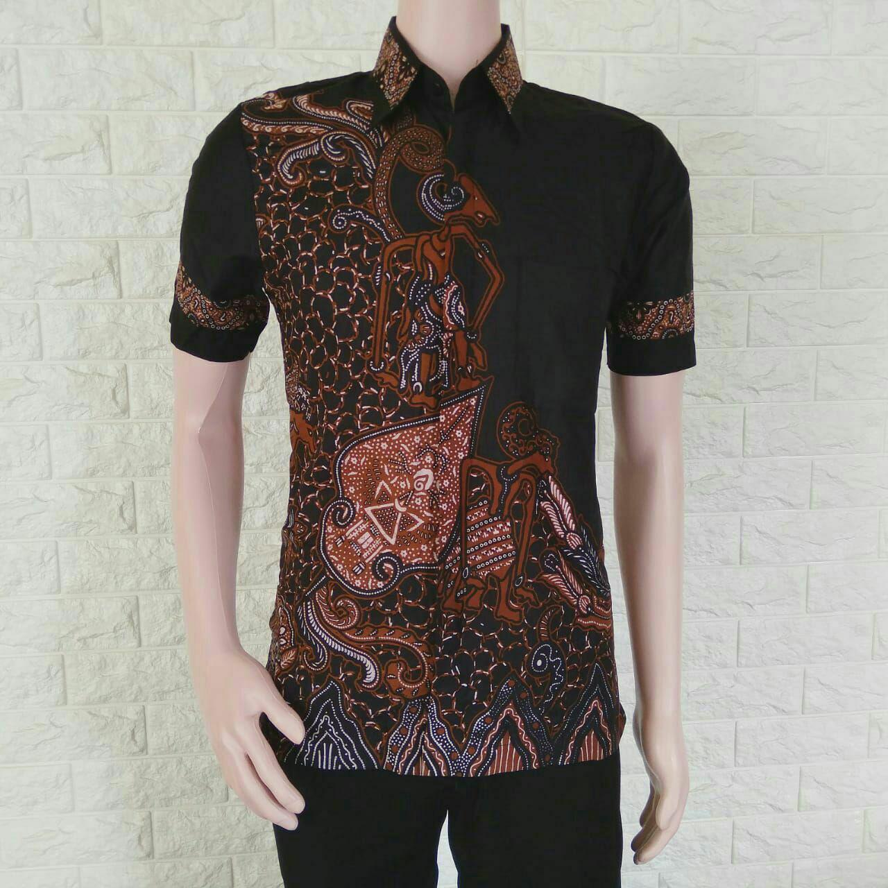 Batik Nandhut Hem Pria 3893 Beli Harga Murah Djoeragan Kemeja Modern Lk7a Kantor Laki Cowo Jual Baju Pekalongan Motif Wayang Coklat