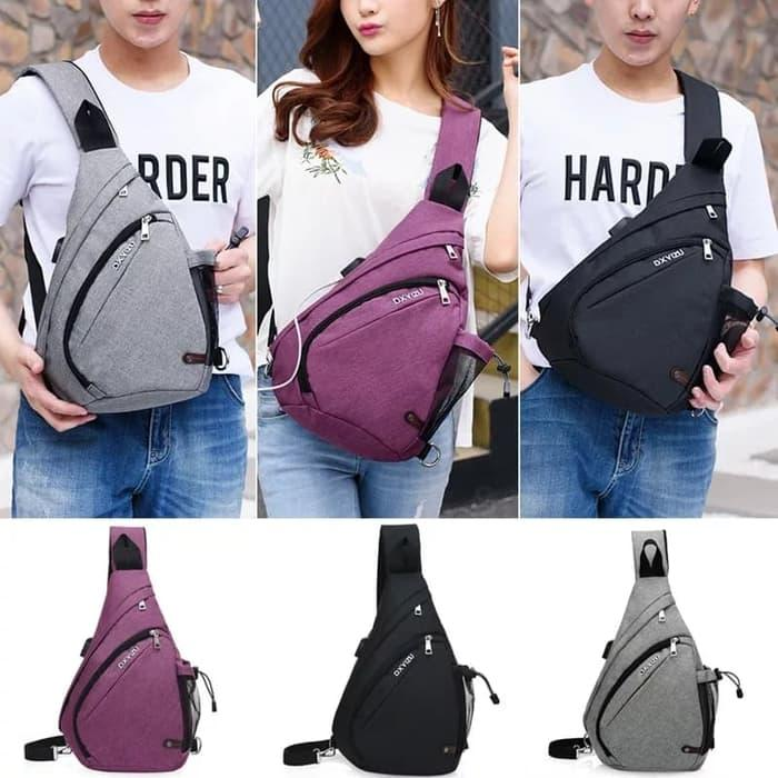 New Model Tas slempang pria anti maling theft usb IMPORT AC230