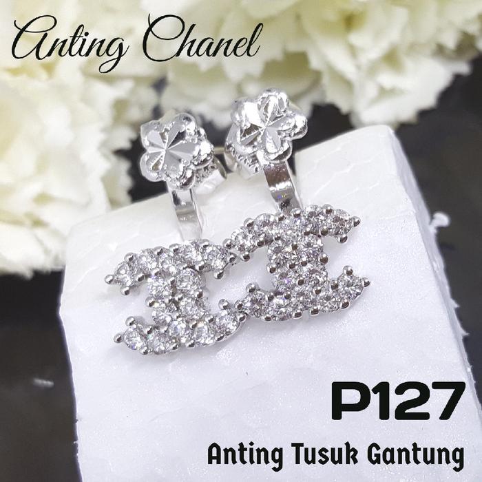 P127 Anting Tusuk Giwang Chanel (Perhiasan Imitasi Xuping Lapis Emas)